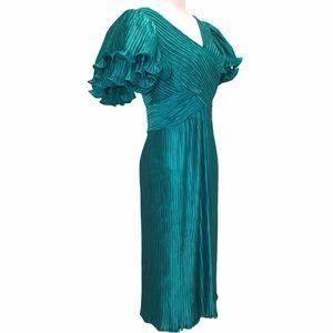 Richilene Vintage Teal Silk Statement Event Dress
